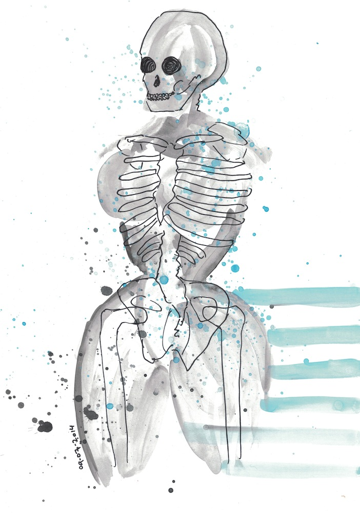 Skeleton, female, water colour. 2014.