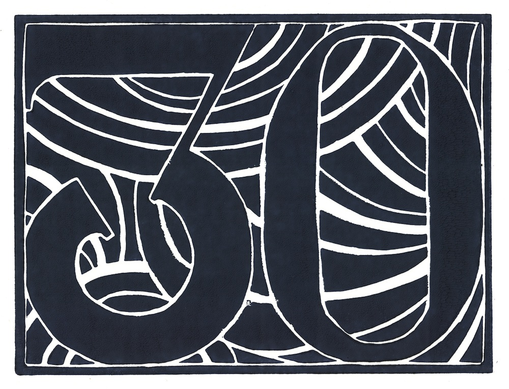 Dark-blue lino print of the number 30 on white paper